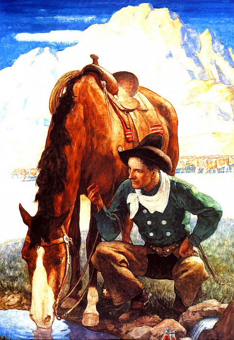 lrs-WyethNC-Cowboy Watering his Horse-11. Newell Convers Wyeth