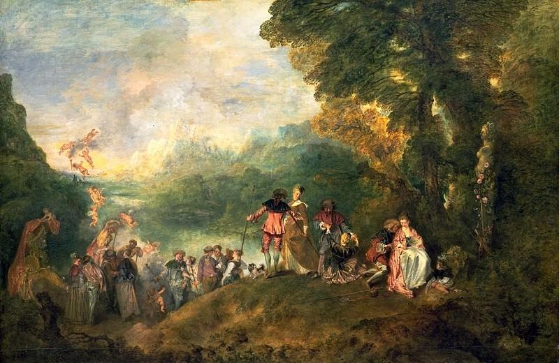 Watteau The Embarkation for Cythera, 1717, 129x194 cm, Louvr. Жан-Антуан Ватто