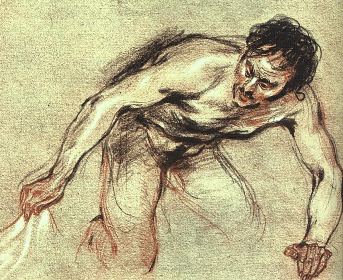 Kneeling Male Nude CGF. Jean-Antoine Watteau