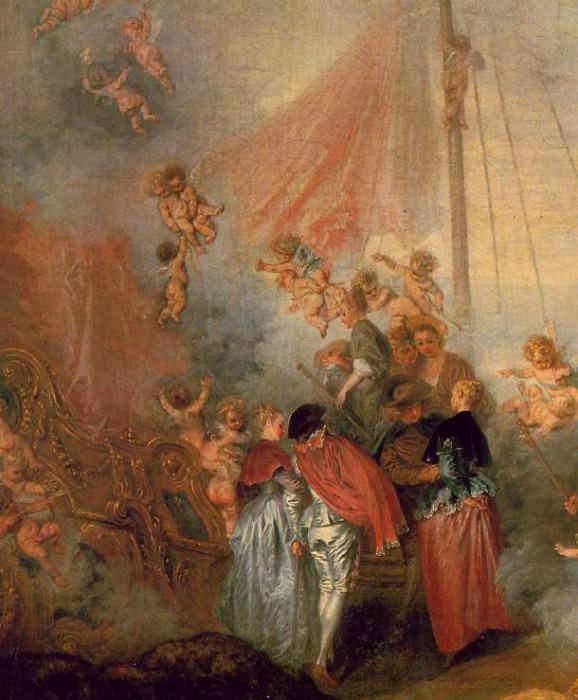 Watteau Pilgrimage to Cythera, Detalj, 129x194 cm, Charlotte. Jean-Antoine Watteau
