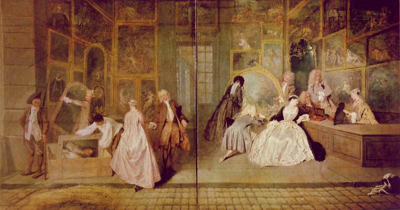 Watteau Geraints shopsign, 163x308 cm, Charlottenburg Palac. Jean-Antoine Watteau