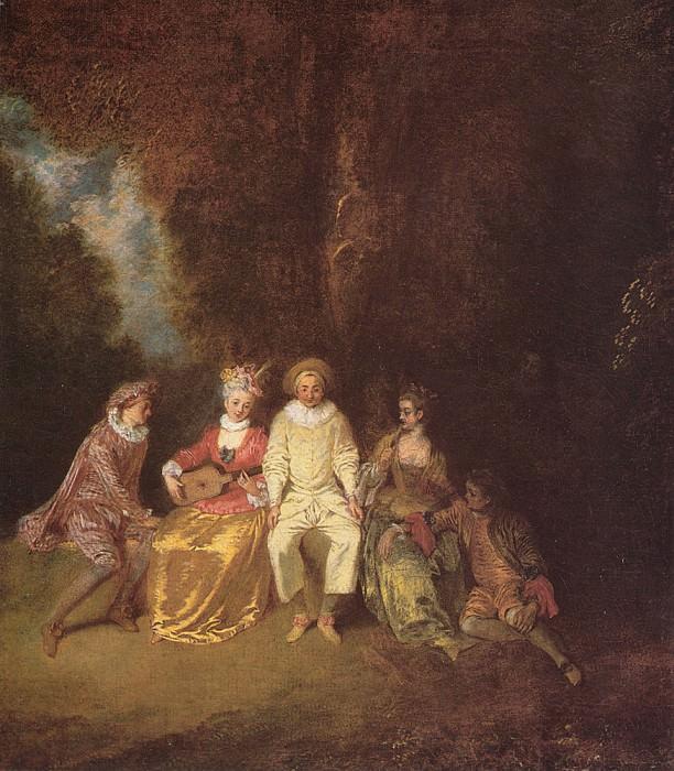 Watteau Pierrot content. Jean-Antoine Watteau