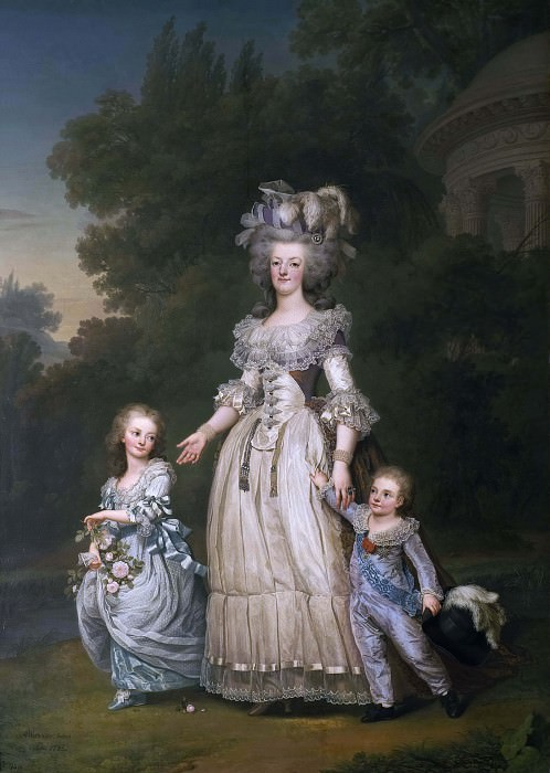 Queen Marie Antoinette of France and two of her Children Walking in The Park of Trianon. Adolf Ulrik Wertmüller