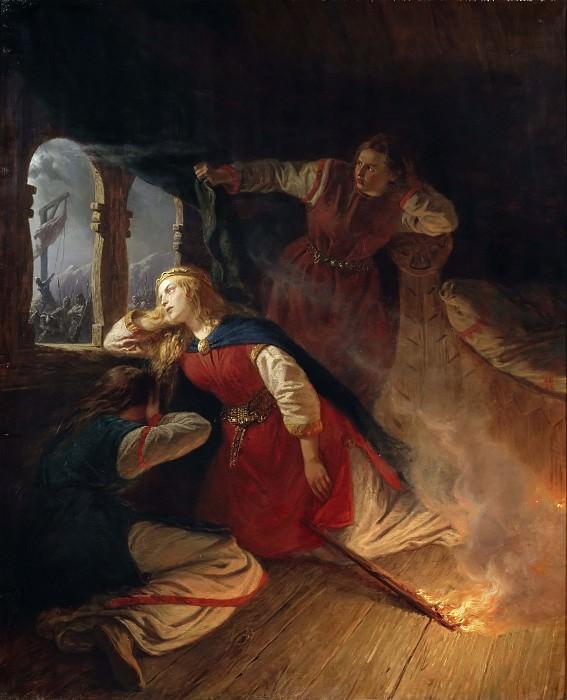 Signe Seeks Death in the Flames of Her Bower. Josef Wilhelm Wallander