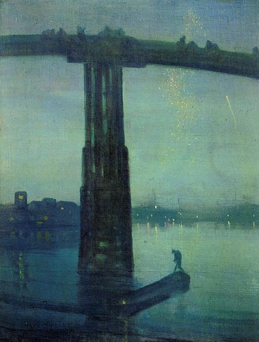 Whistler James McNeill Nocturne in blue and green. Джеймс Эббот Мак-Нейл Уистлер