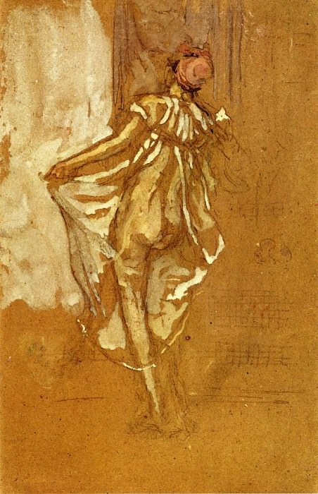 Whistler A Dancing Woman in a Pink Robe Seen from the Back. James Abbott Mcneill Whistler