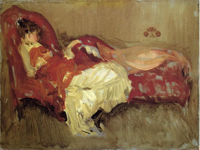 Whistler Note in Red = The Siesta. James Abbott Mcneill Whistler