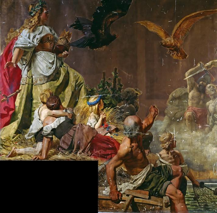 Cardboard to victory monument. Anton von Werner
