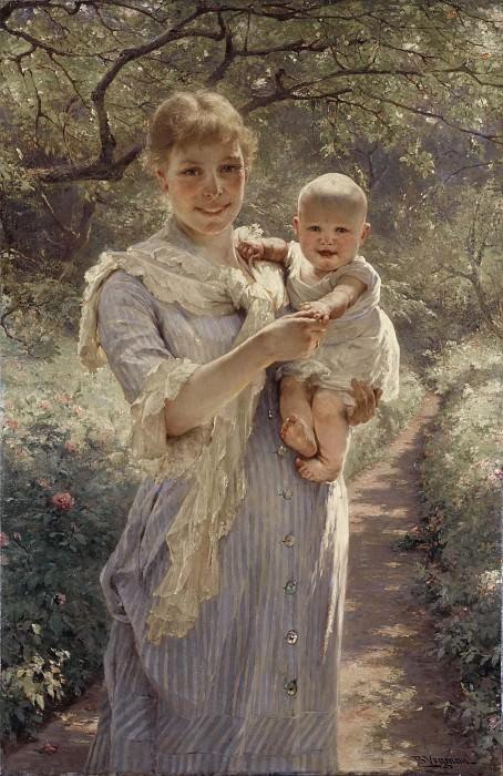 Young Mother with a Child in a Garden. Bertha Wegmann
