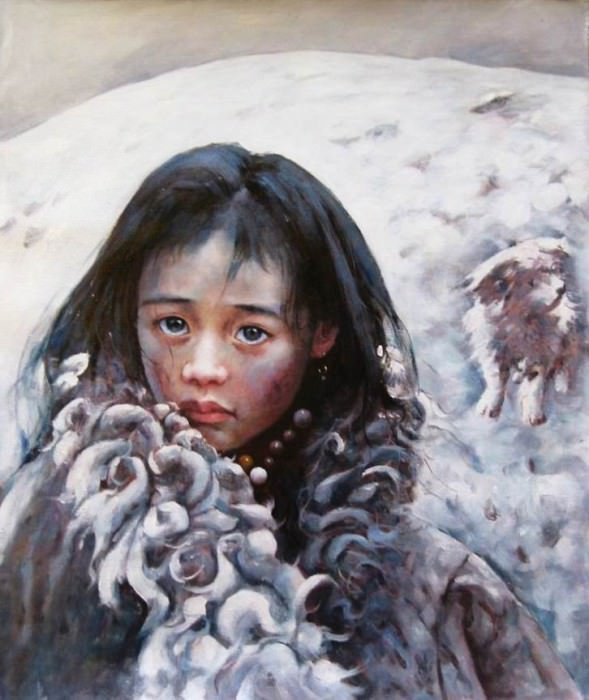 Aio Xun Original Oil Painting SNOWSTORM SWEEPING TRUO11. Aio Xun