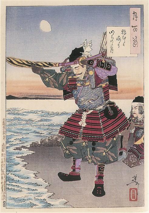 067 Inamura Promontory Moon At Daybreak Inamuragasaki no akebono no tsuki. Yoshitoshi