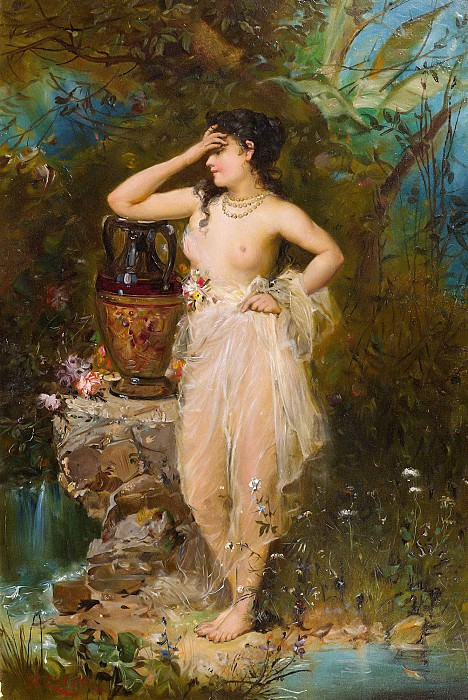 A beautiful woman bathing. Hans Zatzka