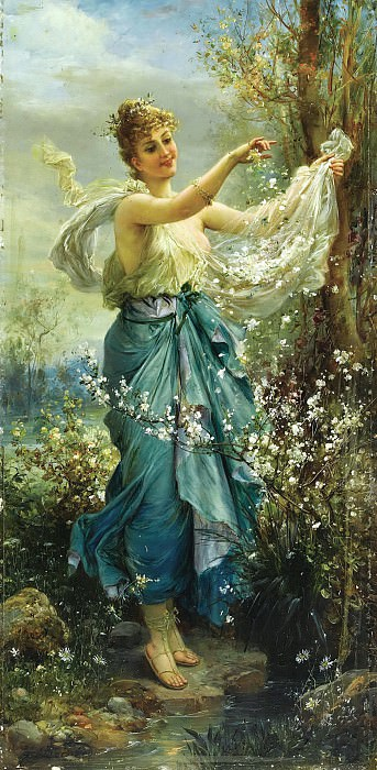 Girl with Flowers. Hans Zatzka