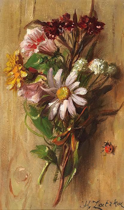 Flower Piece with Ladybird. Hans Zatzka