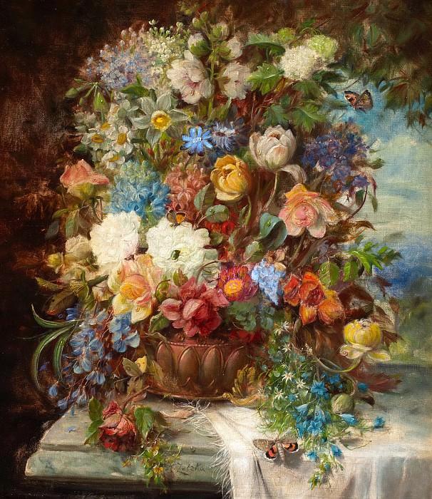 Summer Flowers on a Ledge. Hans Zatzka
