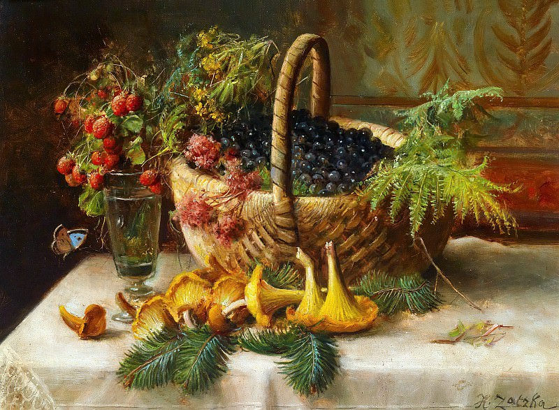 Still life with berries and mushrooms. Hans Zatzka