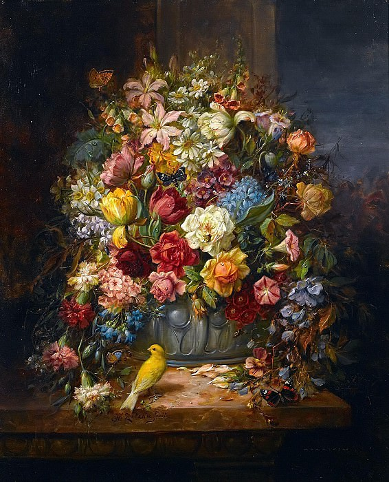 A still life of flowers with a budgerigar and a butterfly on a ledge. Hans Zatzka