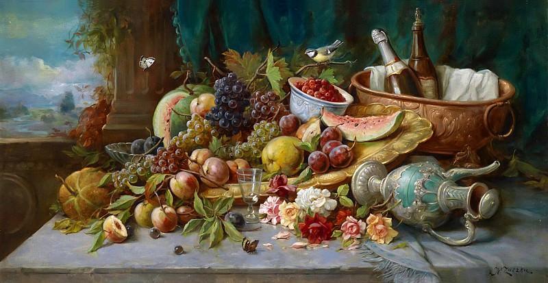 Large Still Life with Fruit. Hans Zatzka