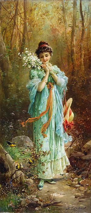 Girl with edelweiss. Hans Zatzka