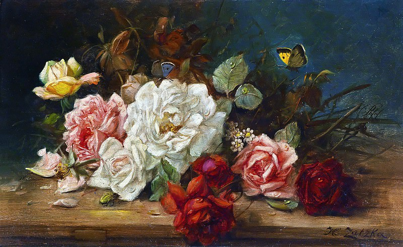Still life with roses. Hans Zatzka