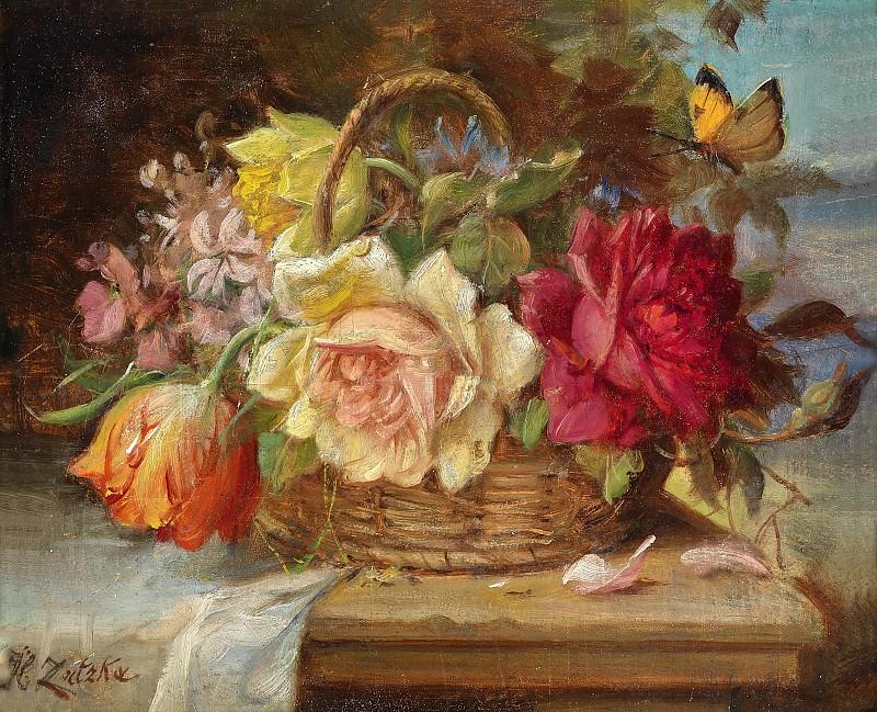 A Basket of Flowers and a Butterfly. Hans Zatzka