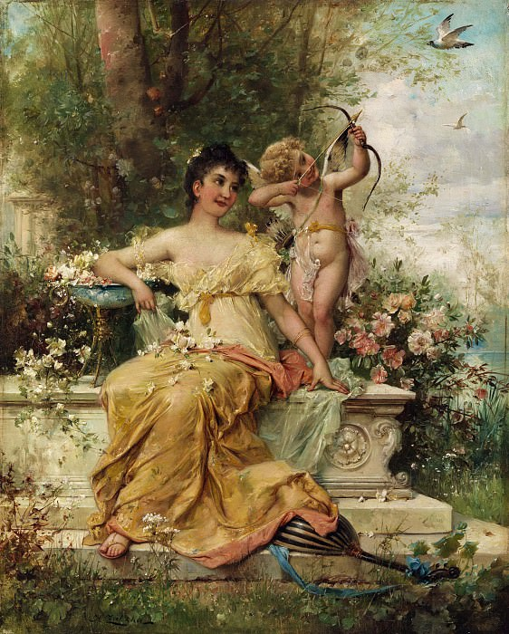 YOUNG LADY IN THE PARK NEXT TO AN AMOR. Hans Zatzka