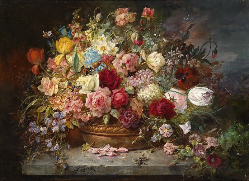 Bouquet of Flowers in a Copper Bowl. Hans Zatzka