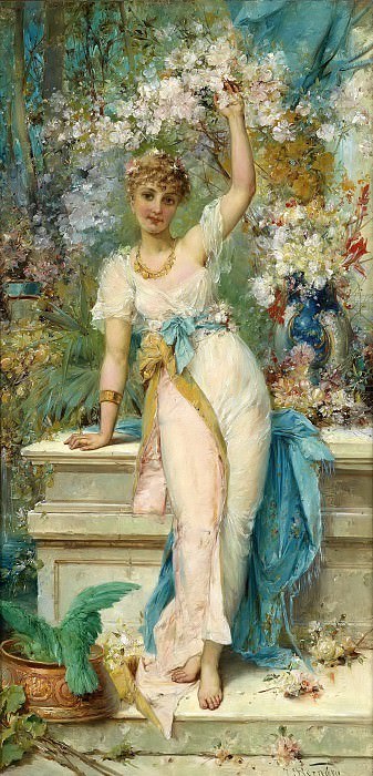 Beauty in the lush garden. Hans Zatzka