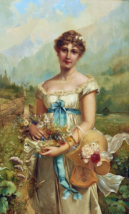 Allegory of flora in front of alpine landscape. Hans Zatzka