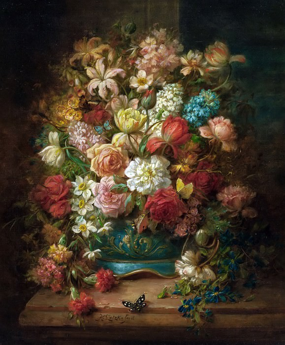 Still Life with Flowers and Butterflies. Hans Zatzka