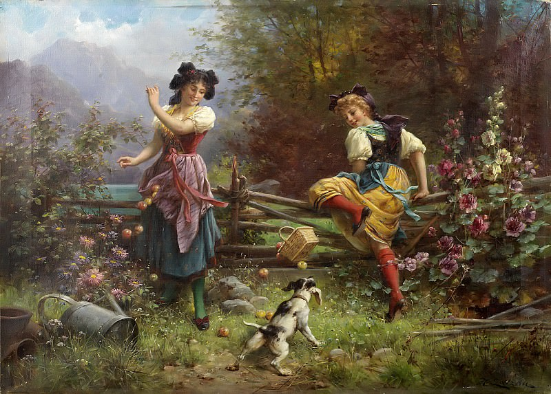 Tumbling apples. Hans Zatzka