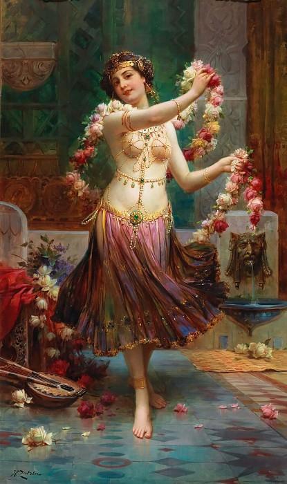 An Oriental beauty with roses. Hans Zatzka
