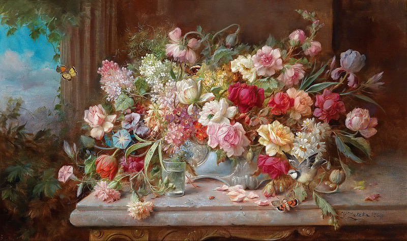 Still Life with Flowers. Hans Zatzka