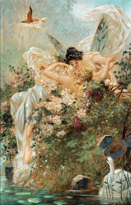 Two Fairies Embracing in a Landscape with a Swan. Hans Zatzka