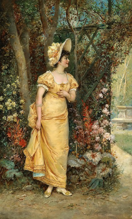 Woman in the Garden. Hans Zatzka