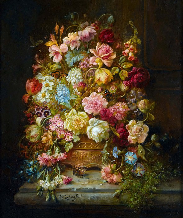 A still life with flowers in a jardiniere resting on a ledge. Hans Zatzka