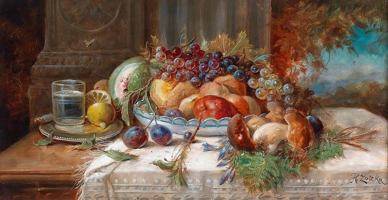 Still life with fruit and mushrooms. Hans Zatzka