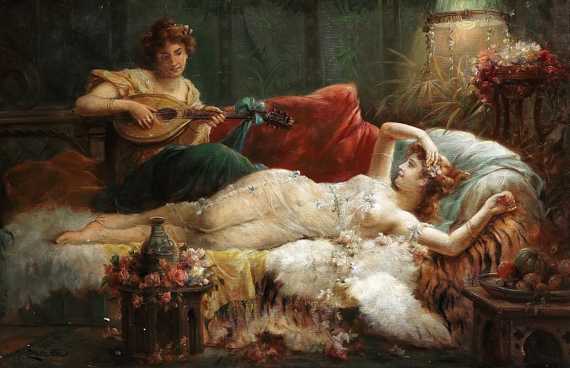 Interior with a lightly dressed woman and a lute player. Hans Zatzka
