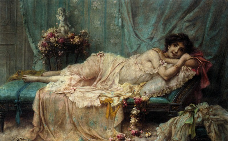 Hans Zatzka Reclining Beauty. Ханс Зацка