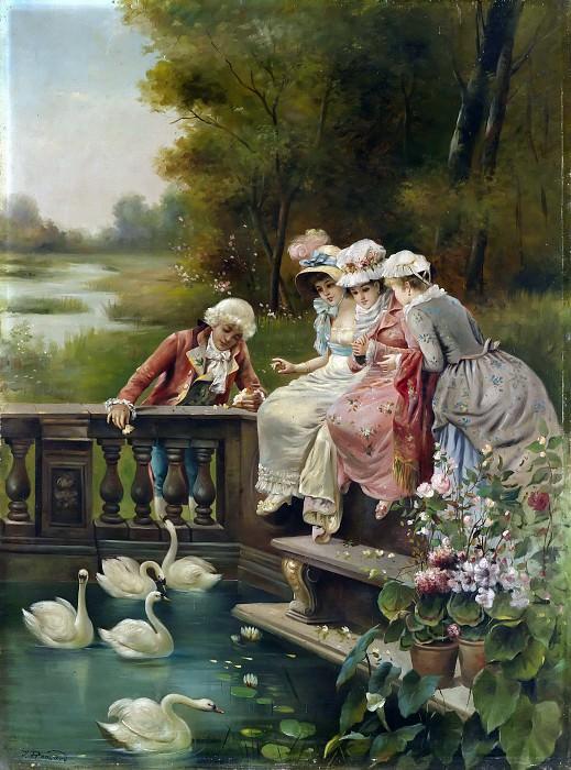 feeding the swans. Hans Zatzka