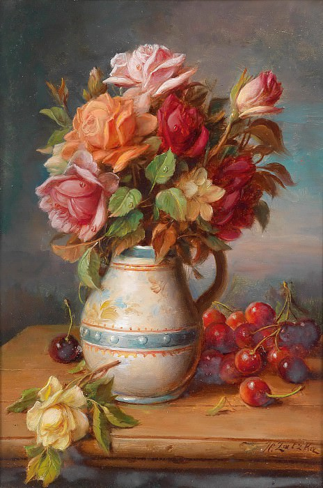 Roses and Cherries. Hans Zatzka