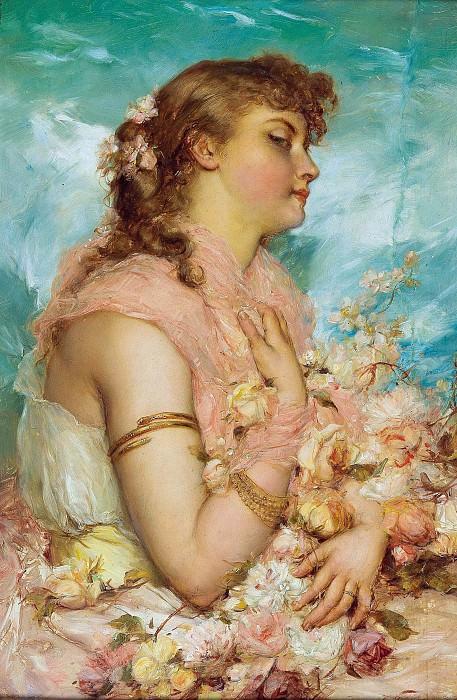 A young woman with roses. Hans Zatzka