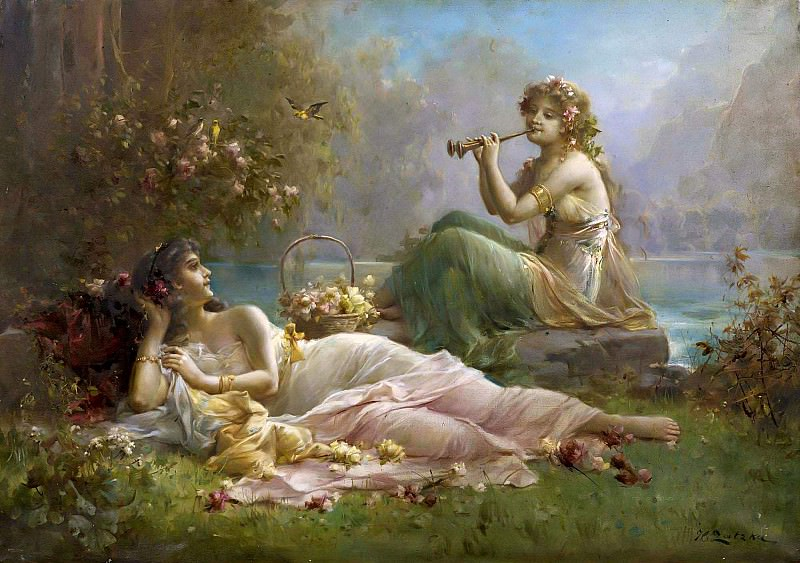 Two Nymphs by the water. Hans Zatzka