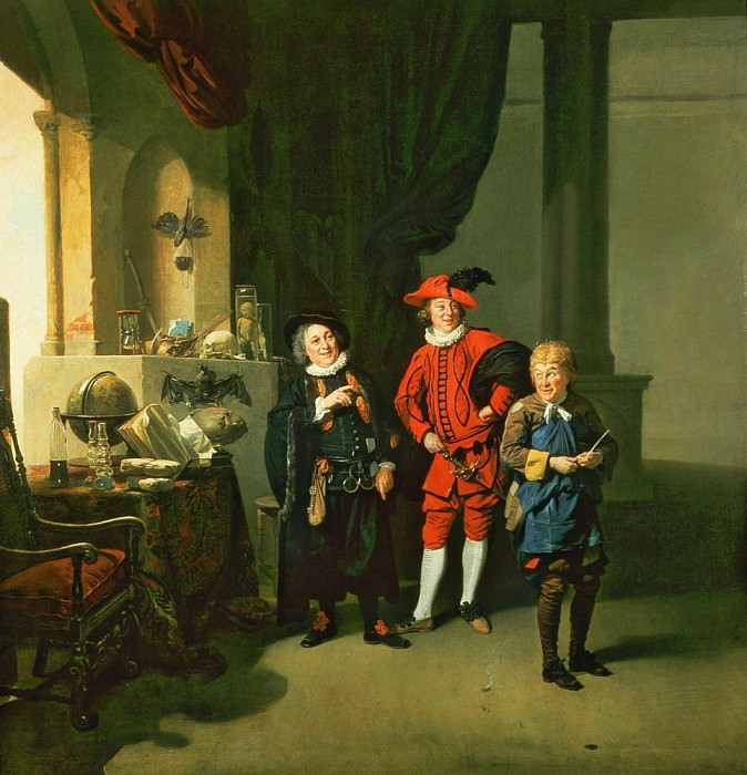 David Garrick with William Burton and John Palmer in The Alchemist by Ben Jonson. Johann Zoffany
