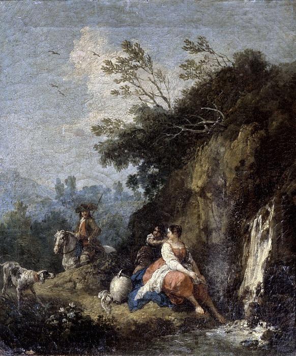 Пейзаж с водопадом. Франческо Зуккарелли