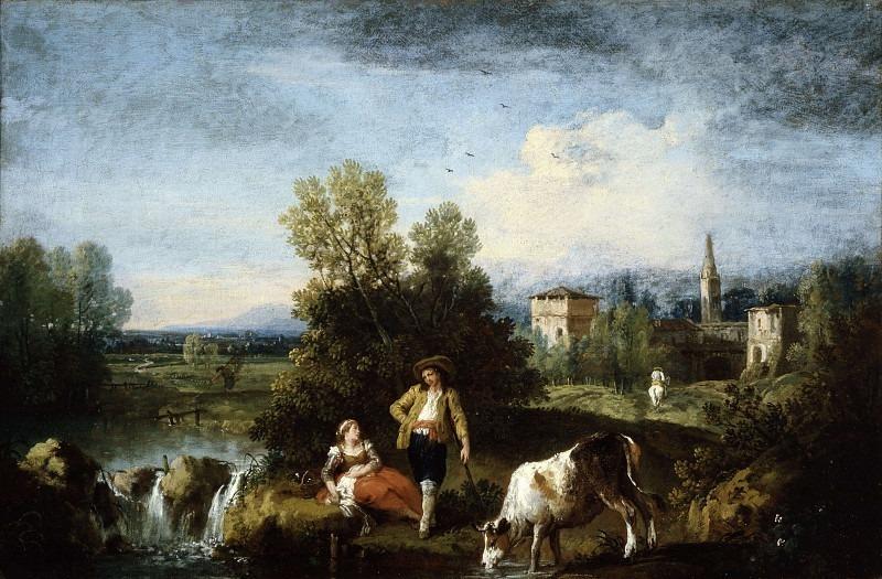Пейзаж с рекой и отдыхающими пастухами. Франческо Зуккарелли
