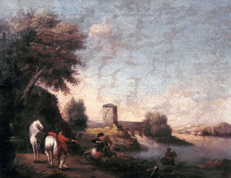 Пейзаж с всадниками, переходящими реку. Франческо Зуккарелли (Мастерская)
