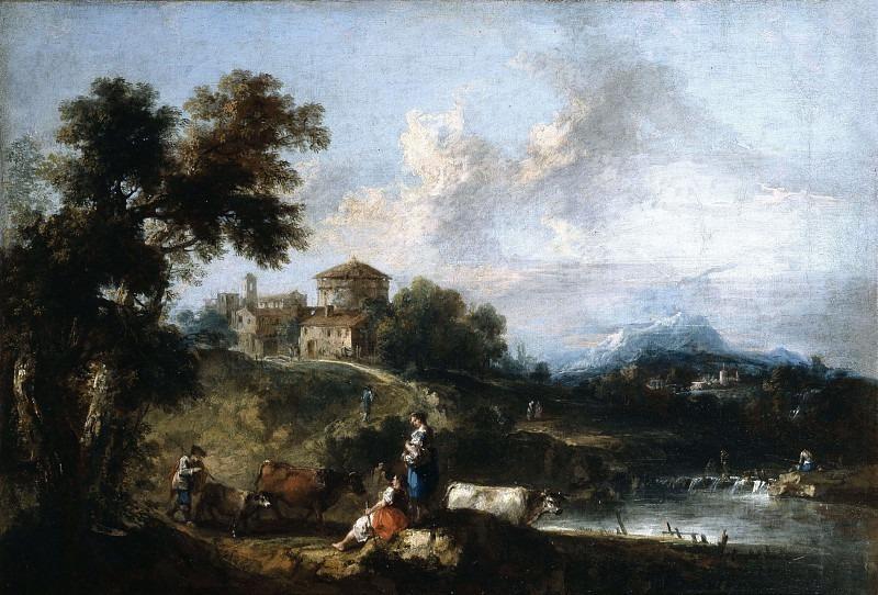 Пейзаж с ручьём и круглой башней. Франческо Зуккарелли