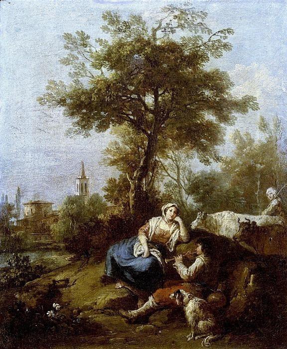 Пейзаж с отдыхающими пастухами. Франческо Зуккарелли