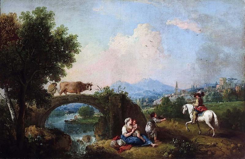 Пейзаж с мостом и всадником. Франческо Зуккарелли